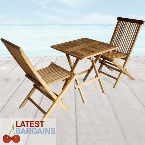 3 Pc Outdoor Bistro Set Wooden Timber Garden Furniture Setting Table & 2 Chairs