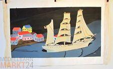 Öl-Bild Leinwand Segelschiff Dreimaster Illustration eines WIKING-Modells 43x79