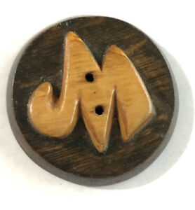 """Vintage Large Wood Button w/Raised Letter """"M"""" or """"W"""" - 1-5/8"""" (CD1-12)"""