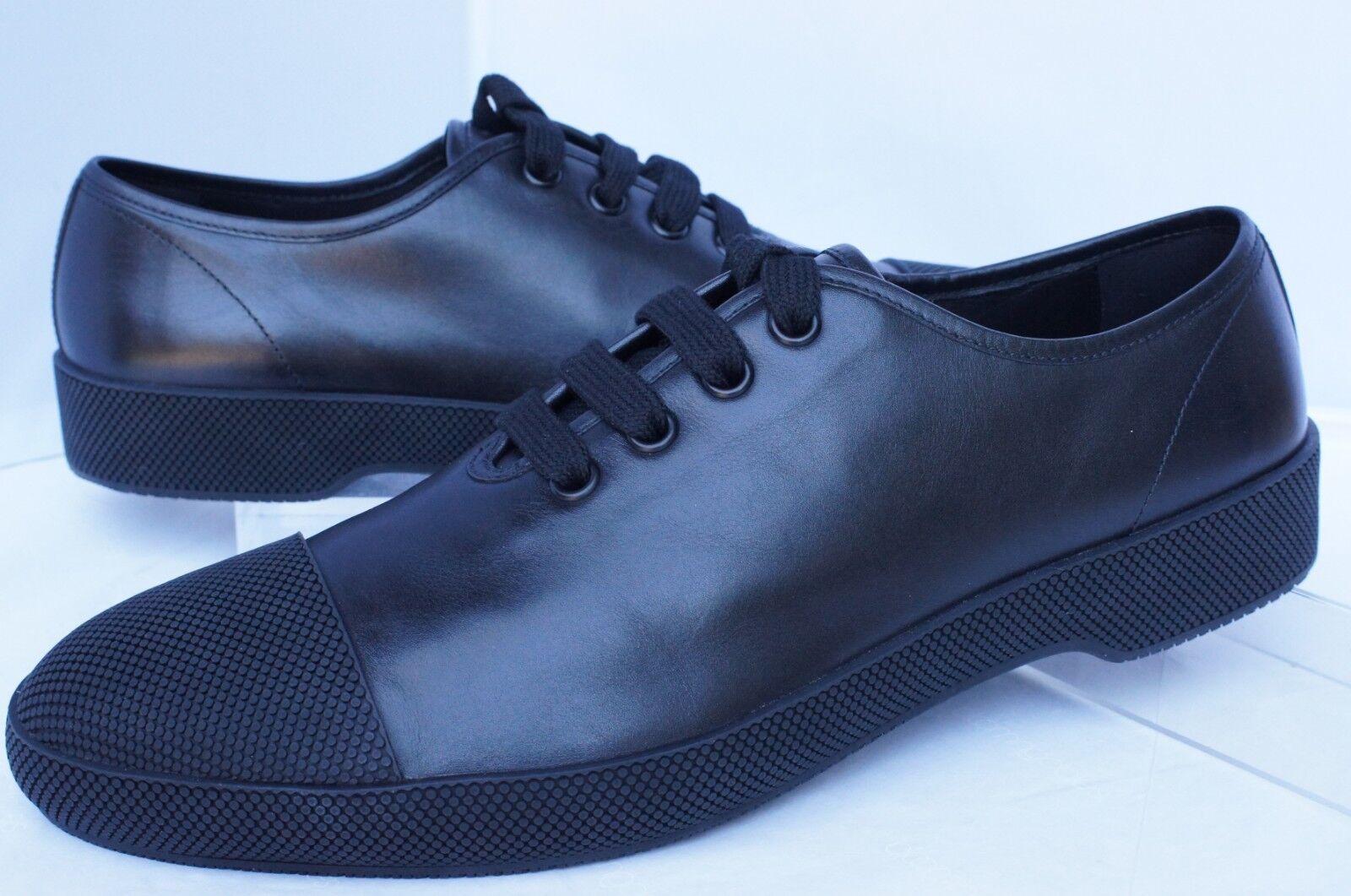 New Prada Mens Black Sneakers Shoes Size 11 Vitello Plume Tennis Leather