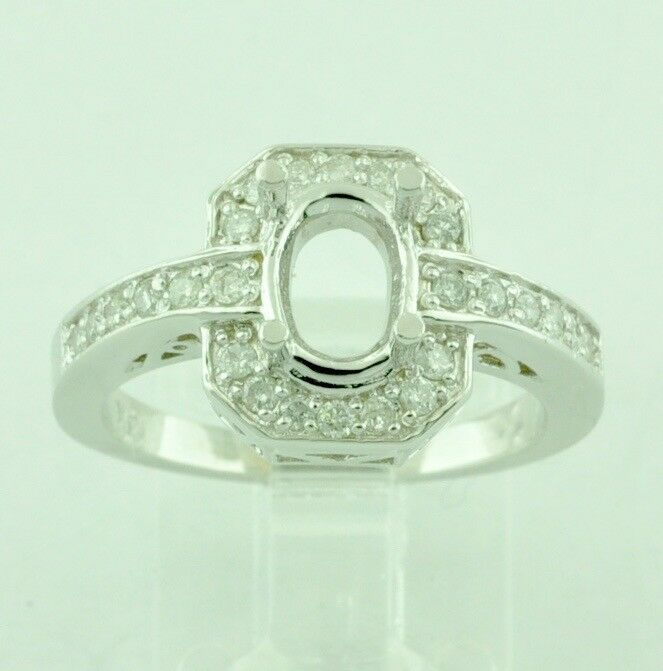 0.40 ct 14k Solid White gold Ladies Semi Mount Diamond Ring Fits Oval 6x8  Stone