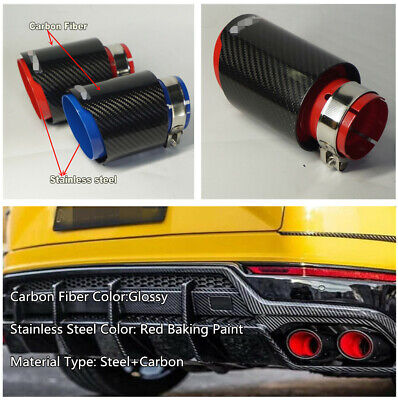 1x Deluxe Car Exhaust Tip Dual Tail Pipe Carbon Fiber+Stainless Universal Left