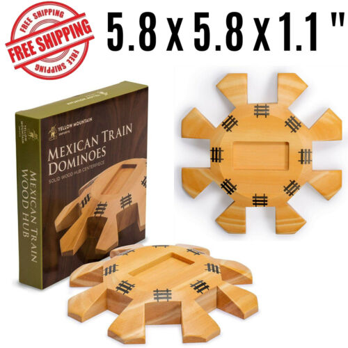Mexican Train Dominoes Traditional Board Games Solid Wooden Hub Centerpiece New