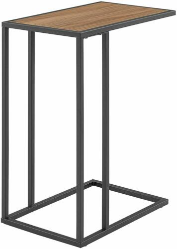 We Furniture Industrial Side Table Top Surface, Metal Frame, Dark Brown Black