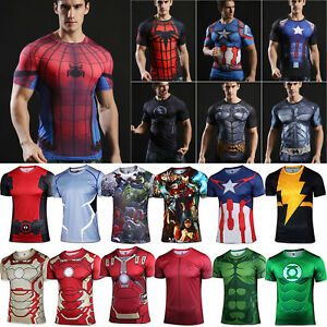 Men-039-s-Marvel-Superhero-Compression-T-Shirt-Sports-Fitness-Gym-Tops-Spiderman-Tee