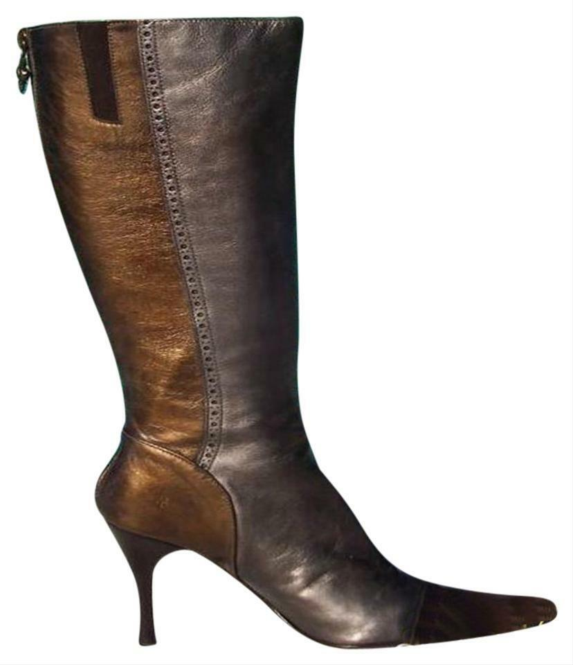 Donald Pliner Bronze Pewter Metallic Leather Boot shoes New Couture  425 NIB