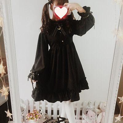 Japanese Harajuku Vintage Elegant Gothic Lolita Black Palace Bow Princess Dress