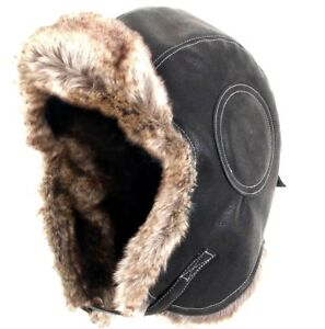 2a341f0f07c Image is loading Black-Airman-Leather-Ushanka-Winter-Russian-Hat-Ski-