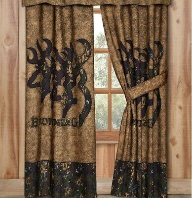 Browning 3d Buckmark Lined Curtains Drapes Camo 42 X 84 Deer Logo Hunt Office Ebay