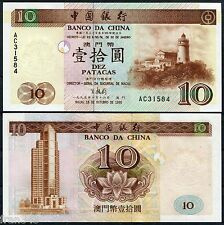 MACAO MACAU BANK OF CHINA 10 patacas 1995  Pick 90  SC /  UNC