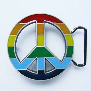 NEW PEACE 60'S SIGN RAINBOW FLAG GAY PRIDE BELT BUCKLE