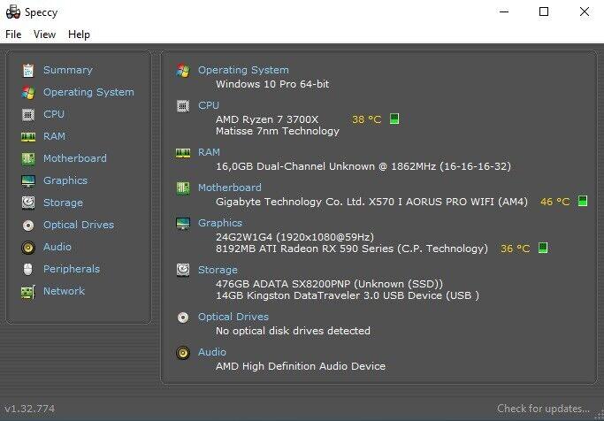 Selvbyg, Ryzen 7 3700X 4.4 Ghz, 16 GB ram