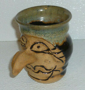 Ugly-Pottery-Mug-Cup-Signed-Big-Nose-Handle-Witch-Hand-Thrown-3-75-034