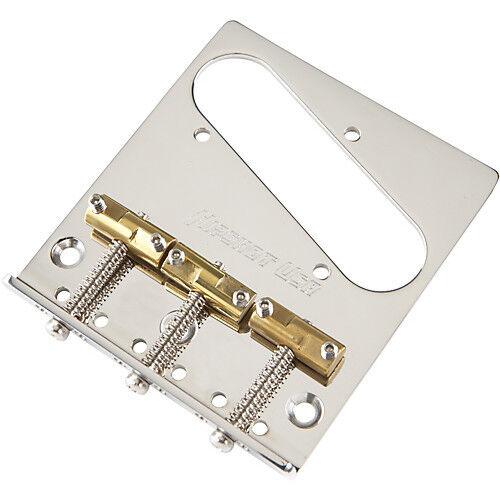 Hipshot 3 Hole Fender Telecaster Chrom Bridge mit Compensated Brass Saddles