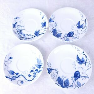 Williams-Sonoma-china-Ormonde-Pattern-Set-of-4-Saucer-Plates-6-034-Blue