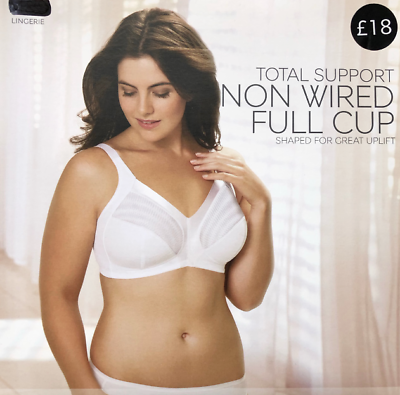 Ladies Famous Make Total Support Black Non-Wired Full Cup Bra Sizes 34-44 B-G.