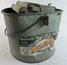 Deluxe No 2946 Mop Pail Bucket Wooden Rollers Galvanized Metal Vintage