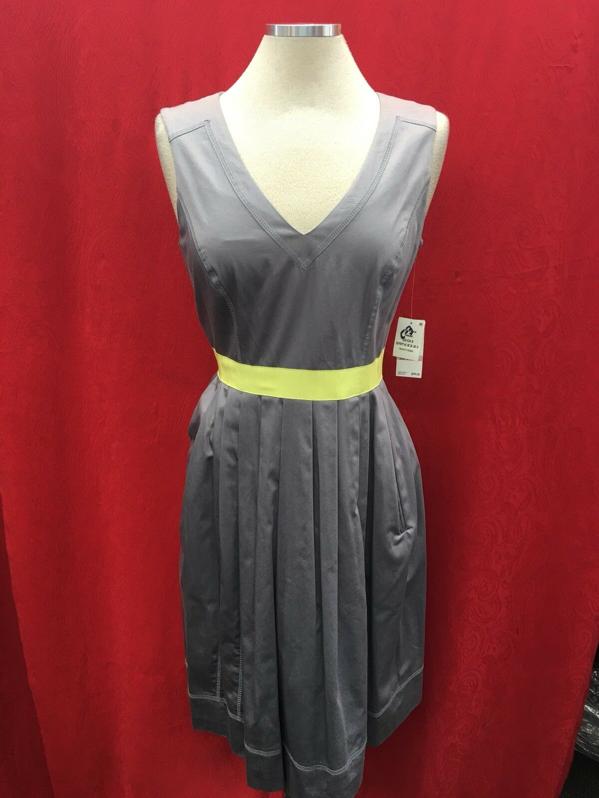NINE WEST DRESS RETAIL 119 LENGTH 39  SIZE 14 LINED NEW WITH TAG COTTON