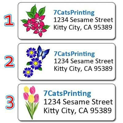 30 Custom Purple Tulips Personalized Address Labels