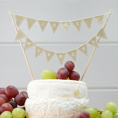 VINTAGE STYLE CAKE BUNTING JUST MARRIED, RUSTIC WEDDING CAKE DECORATION