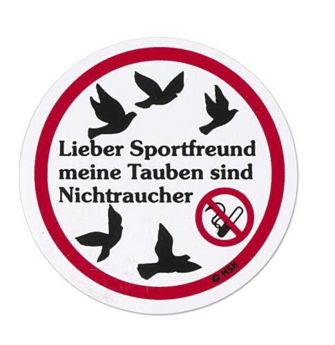 Nichtraucher • TB756 • TAUBEN PVC  Aufkleber Applikation 5 cm • Taubensport