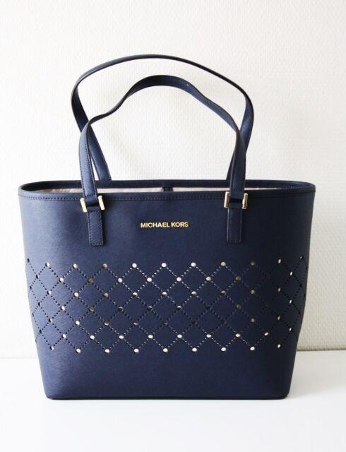 3deacd895725 Michael Kors Bag SHOPPER Violet SM Carry All Tote Bag Navy for sale ...