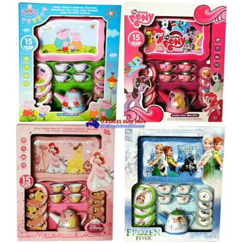 Children/'s Tin Tea Set 15pcs Teapot cup Frozen Peppa Pig Pony Princess