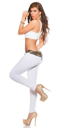 Women/'s Ladies white skinny jeans trousers with camouflage Trim UK 8 10 12 14