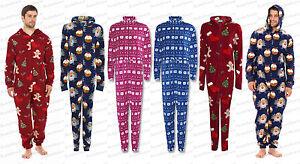 Mens Unisex New All in One Onesie Christmas Micro Fleece ...