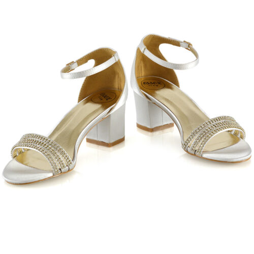Womens Low Heel Strappy Sandals Ladies Bridal Prom Diamante Shoes Size 3-8