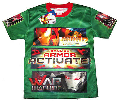 New Boys IRON MAN vibrant green summer t-shirt Size 12 Age 8-9 yrs Free Ship