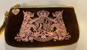 juicy-couture-purse-Quilted-Wristlet-Brown-Pink-Gold-Trim-Velour
