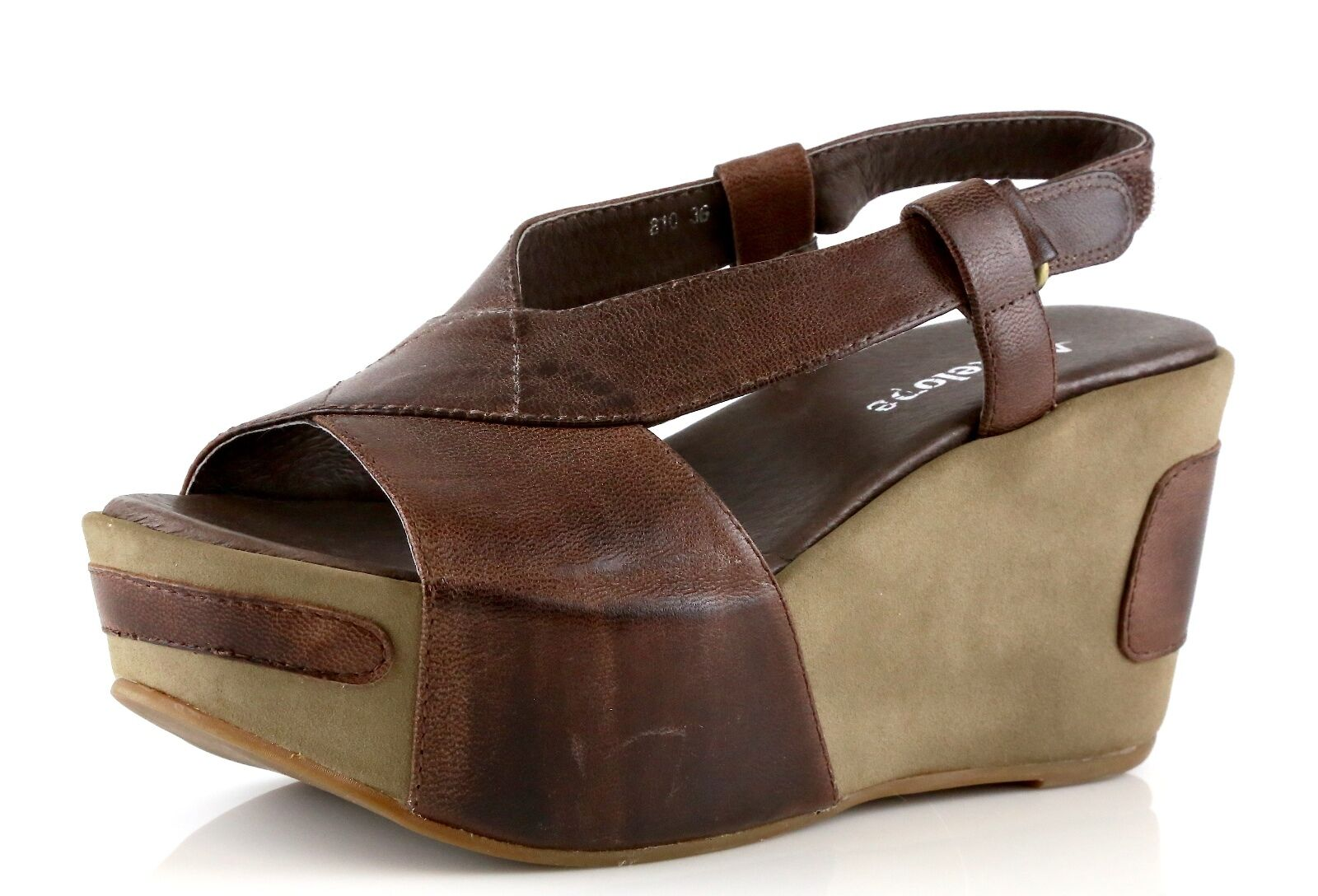 Antelope 810 Brown Leather Ankle Strap Wedge Sandals 8813 Size 36 EU NEW