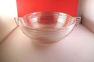 Vintage-Anchor-Hocking-Manhattan-Clear-Glass-Two-Handled-9-034-Salad-Bowl