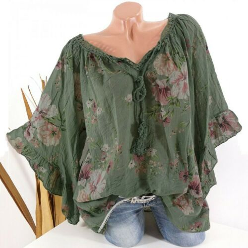 Fashion Women/'s Floral Lace 3//4 Bell Sleeve Casual Strappy Loose Top Shirt S-5XL