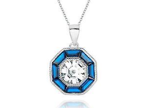 Platinum-Sterling-Silver-Blue-amp-White-Sapphire-Vintage-Design-Halo-Pendant-Gift