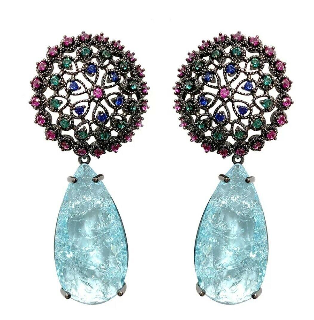 -we❤- Flower Broken Crystal CZ Drop Earrings High Quality Designer water drop