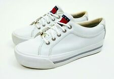 Vtg 90's TOMMY HILFIGER Flag Logo White Leather Platform Sneakers Shoes sz. 9