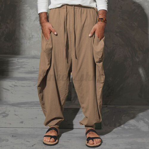 Details about  /Mens Gothic Loose Baggy Harem Trousers Wide Leg Pants Dropped Crotch Trousers