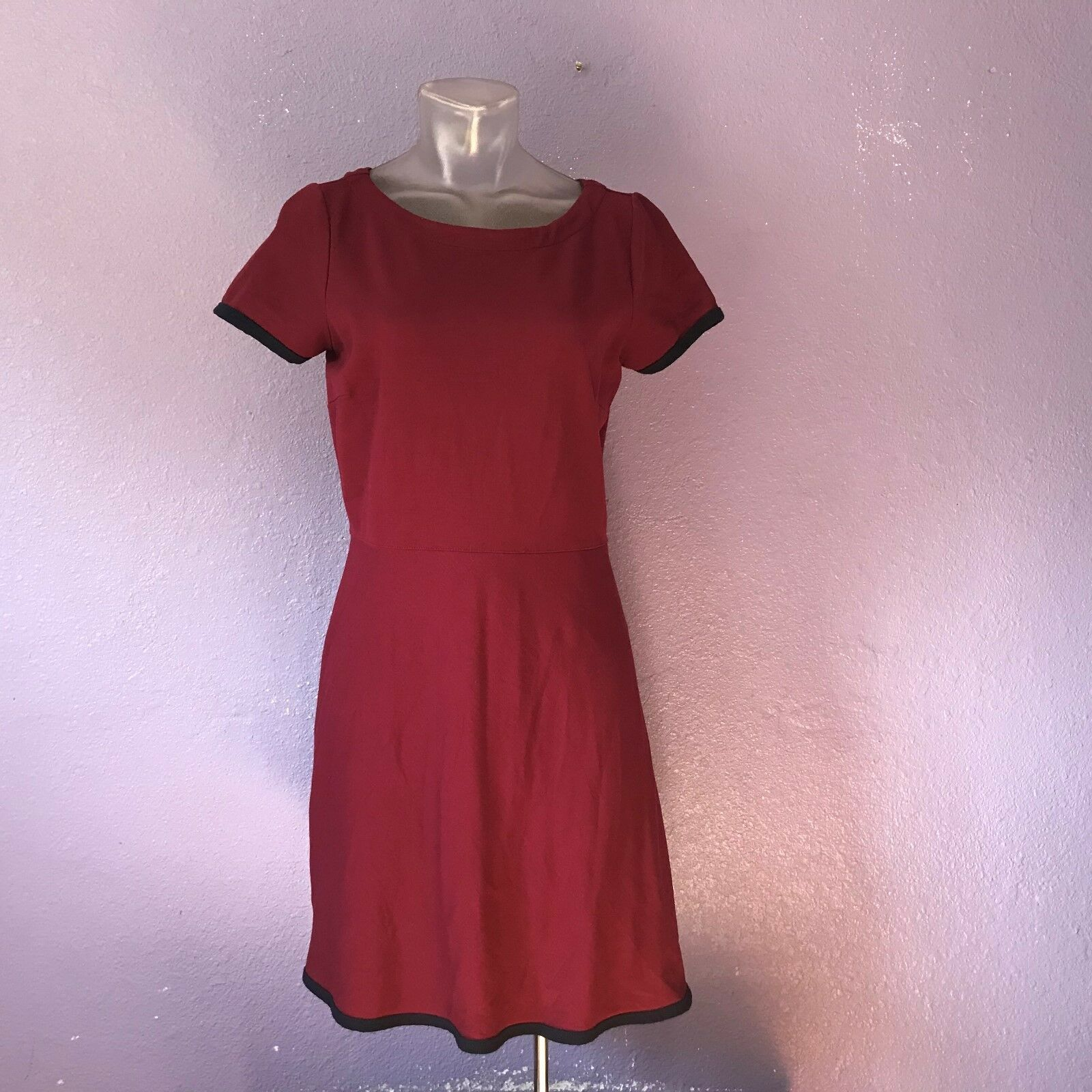 J.CREW  98 Tipped Ponte Dress Maroon & Navy Side Zip Stretch 4 CUTE