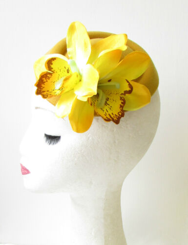 Yellow Mustard Orchid Flower Pillbox Hat Fascinator Races Rockabilly 1950s 1170