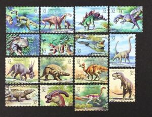 US-1997-3136-The-World-of-Dinosaurs-Complete-set-of-15-in-Singles-Mint-NH
