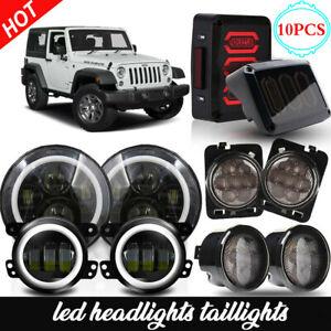 LED RGB Headlights Fog Turn Signal Lamps Tail Lights Combo For Jeep Wrangler JK