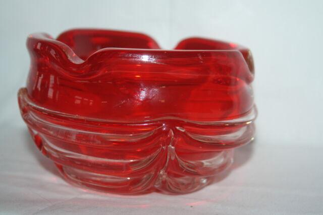 VINTAGE MURANO ART MODERN  ORANGE W/ CLEAR GLASS APPLIED DRAPE RIBS BOWL ASHTRAY
