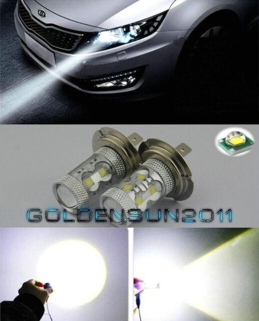 2pcs White High Power 50W  H7 LED Bulbs For Hyundai On High Beam DRL Lights