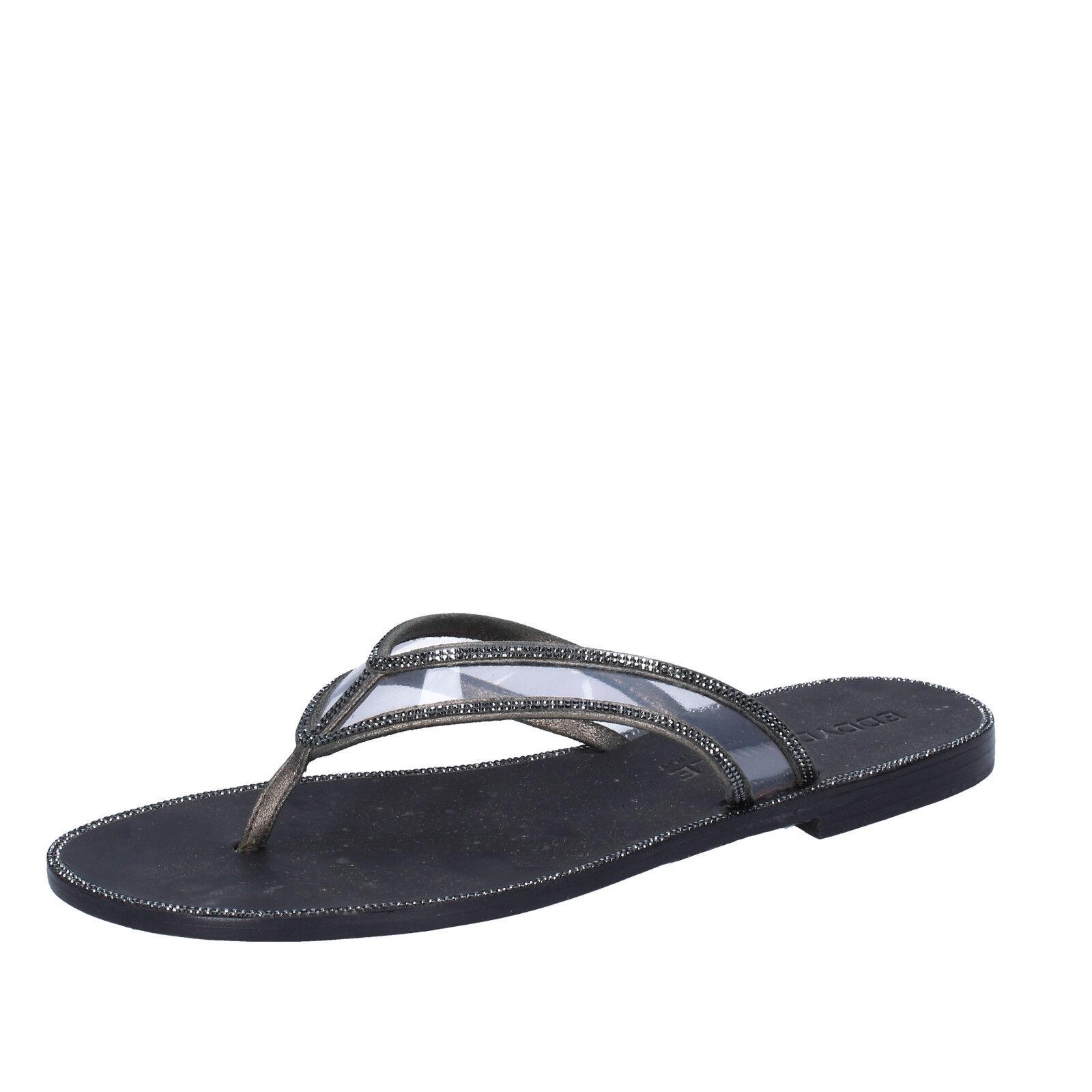 Damen schuhe EDDY DANIELE 37 EU Sandale grau schwarz schwarz schwarz leder swarovski AW682 7eae3b