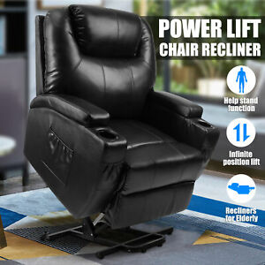 Awe Inspiring Details About Power Lift Chair Recliner Armchair Sofa Real Leather Elderly Chair Seat Black Gmtry Best Dining Table And Chair Ideas Images Gmtryco