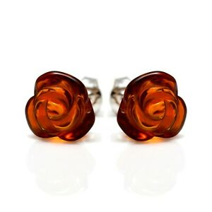 925-Sterling-Silver-Stud-Earrings-Rose-with-Cognac-Genuine-Natural-Baltic-Amber