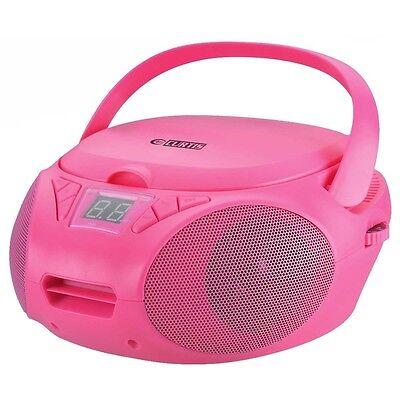 Boombox Portable Lecteur CD Avec Radio AM FM Rose