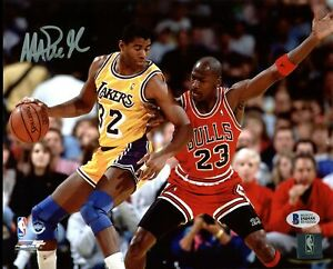 Lakers Magic Johnson Signed 8X10 Photo w/ Michael Jordan BAS Witnessed 3